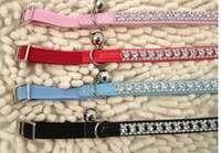 Wholesale pet cat dog puppy collar leather sparkling rhinestones Bling crystal Cat Collar with Safety Elastic Belt Bell