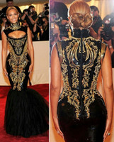 Wholesale Custom made Prom Dresses Hot Sexy Beyonce MET Gala Black And Gold Embroidery Beaded Mermaid Celebrity Dresses Evening Gowns WJ091338