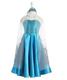 Wholesale 2014 New Movie Frozen Party Dresses Cosplay Costume Queen Elsa Anna Princess Dresses Kids Sequin Dress Crown Cape Children Dresses