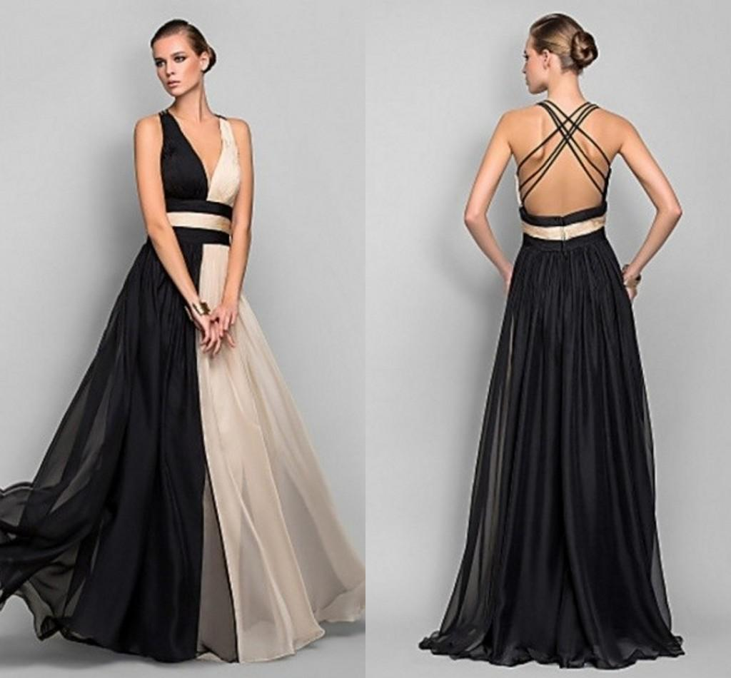 2015 Simple Design Two Color Evening Dress Long Champagne