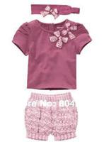 Cheap Wholesale-baby girl's 3pcs clothing sets cut headband+purple short sleeve T shirt+short pant 5pcs lot