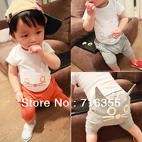 Cheap Wholesale-Free Shipping!2013 summer cat pattern girls and boys suit, short-sleeved T-shirt Children's clothing Wholesale 5pcs lot 2color
