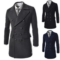 Wholesale Fashion Woollen Coats Man Clothing Brand Double Breasted Trench Coat Winter New Outwear