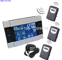 Cheap Adapter+3 Transmitters+Digital Wireless Indoor Outdoor Temperature Humidity RF Weather Station Alarm Clock With Color Backlight