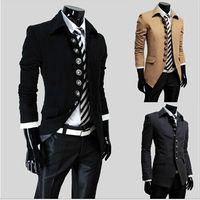 Wholesale new men s slim lapel slanting single breasted woollen cloth jacket coat overcoat men coat hight quality