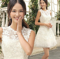 Cheap Young Girls Lovely Homecoming Dresses Charming Crew Sleeveless Lace Tulle Mini Length Back Zipper Prom Cocktail Gowns Made In China 2014 ZX