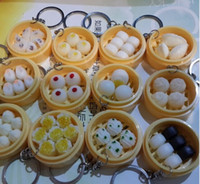chinese food - Funny Lifelike Steamer Steamed Bun With Bowl Hanging Keyrings Keychain Chinese Food Model Key Chain Key Rings New Arrival