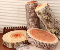 Wholesale Tree Bark Growth Ring Pattern Soft Wood Throw Pillow Log Neck Pillows Car Cylindrical Grain Seat Cushion Bolster