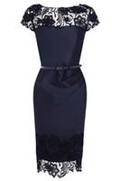 Wholesale Cheap Hot Beach Lace Bridesmaid Dresses Cap Sleeve Zipper Belt Sash Short Prom Dress Runway Knee Length Sheath Party Cocktail Dress