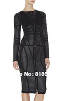 Wholesale in stock factory prices runway black front zipper Long sleeve metallic hl bandage dress new arrival party dress white beige