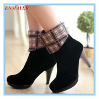 Wholesale ENMAYER new Round Toe Fashion Mid Calf snow boots for women warm high heeled boots Winter Boots big size34