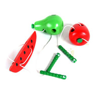 Wholesale Montessori teaching aids baby worms eat the fruit puzzle wooden toy safety and environmental protection channeling rope toys LJP91