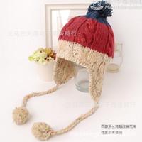 Wholesale Japanese handmade knit spell color the hair bulb ear cap wool hat female winter wool hat cap face lift
