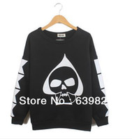 Cheap 2014 Spring South Korea Stylenanda Japanese Harajuku Skull Printing Upset Fleece Women Sweater Wholesale Free Shipping