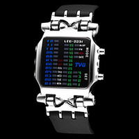 Wholesale 1pc luxury watches birthday gift watch COOL gadgets Men s Matrix Colorful LED Black Rubber Band Wrist Watch