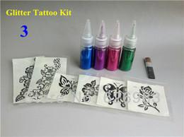 Wholesale Fashion Cute MINI colors Temporary Glitter tattoo kit for Body art paint Kit