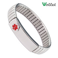 Wholesale elastic L stainless steel mens medical alert id bracelet