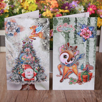 wholesale gift cards - New Arrival Merry Christmas Greeting Card Santa Claus Folding Gift Card Christmas Gift SD298