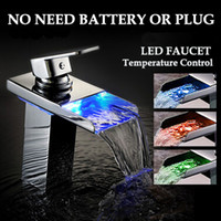 Wholesale no need battery water self powered led brass bathroom Sink Faucets