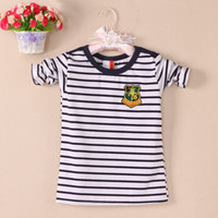 Cheap 1pcs New Kids Spring Tee Boys Girls Cute Long Sleeve kids wear T Shirts Blue Striped White Sleve Child Top Tee Kids PlusA 10Shi