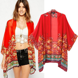 Autumn New 2014 Ladies Veatidos Vintage Retro Flower Floral Print Red Chiffon Cardigan Kimono Cape Women Brand Coat Outwear L402