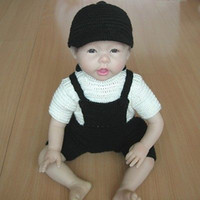 """Cheap 100% Handmade Wool Sweater & Cap for 22"""" Reborn Baby Doll Clothes Gift Pram Suit"""
