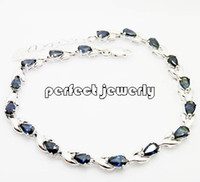 Wholesale Sapphire Chain bracelet Natural sapphire silver plated k white gold Perfect Jewelry DH