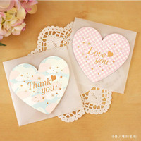 Wholesale Lovely Heart Gift Greeting Card MINI Thank You Message Card Party Supplies SD168