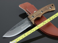 Wholesale Handmade Forged Steel Hunting Fixed Blade Knife Wood Handle Knives Camping Gear Hand Tools