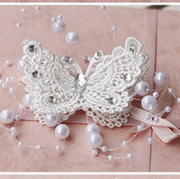Wholesale New Embroidered Pearl Rhinestone Floral Flower Fabric Bridal Applique White Red Butterfly Patches Beaded Motif Hairpin