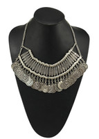 Wholesale Golden Silver Zamac Jewelry Handcraft Carving Metal Coin Fringe Statement Necklace Boho Gypsy Beachy Ethnic Tribal Jewelry Turkish