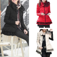 Wholesale 2014 Casual Jackets Women Mesh Ruched Ruffles Spliced Slim Parka Winter Female Coat