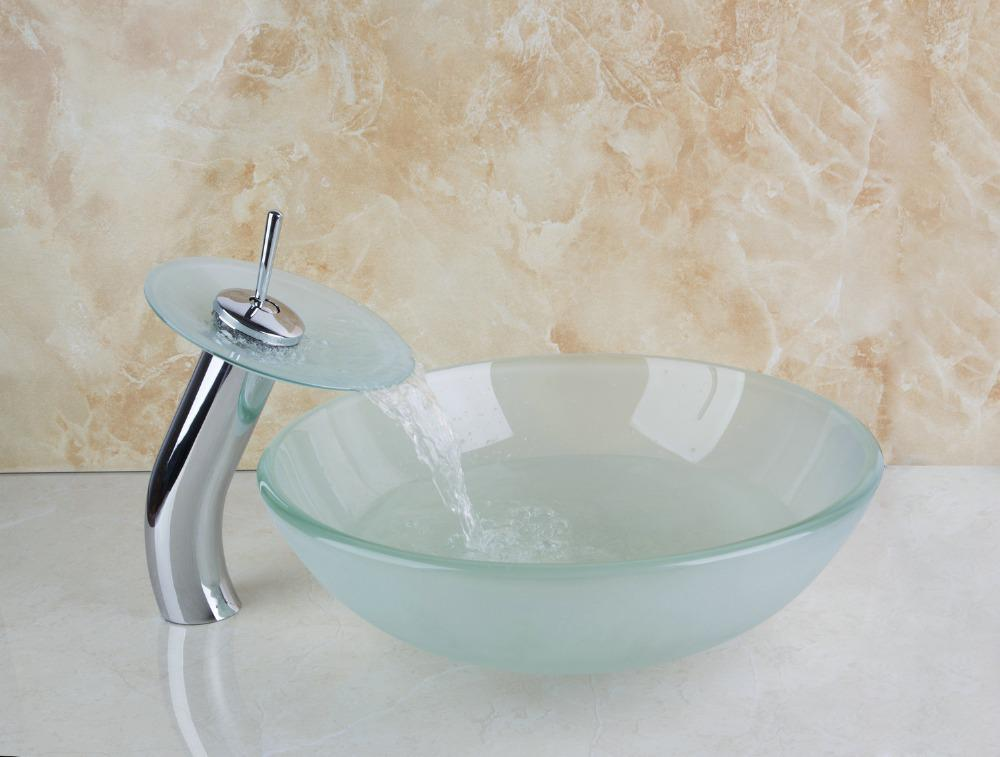 Lavabo art 4067 1 bagno tondo temperato lavello di vaso vetro ...