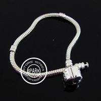 Wholesale cm In Length Sterling Silver Plated Snake Chain Bracelet Fit European Beads With Logo