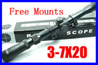 Cheap 5pcs Air Soft Hunting 3-7x20 Mil-Dot paintball sniper Rifle Scope guns with Free Mounts Outdoor Airsoft Sight Free Shipping