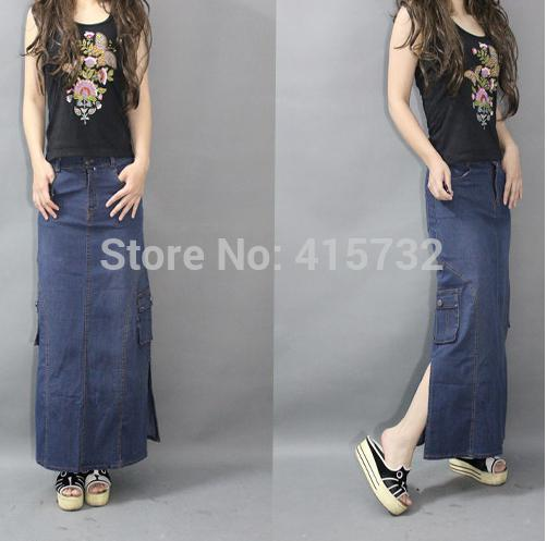 2015 New Fashion Double Slits Straight Long Maxi Denim Jeans Skirt ...