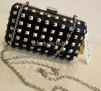 Cheap 2013 New Womens Punk Revit Style Handbag Shoulder Bag Hot Sale Designers Bag Black Solid Color 19*11*5 1PC Lot Free Shipping 0715B10