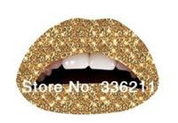 Wholesale new D Art temporary tattoo lips sticker waterproof sexy Gold Glitteratti pattern make up tatoo Violence lips