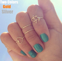Cheap 4pcs lot gold sliver plated midi set stacking rings fashion lovely bowknot women jewelry
