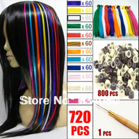 Wholesale 720 Set HOT Fashion Womens Ladies Girls DIY quot Long Solid Color Feather Hair Extensions with Free Beads Hook Needle Kit