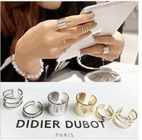 Cheap Newest 3pcs lot Shiny Punk Polish Gold Stack Plain Band Midi Mid Finger Knuckle Ring Set high quality Rock 2 colors wholesale
