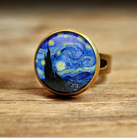 african times - RC33 glass dome ring The Starry Night by Vincent Van Gogh Handmade Keepsake RING Stars Blue Night Time Evening Star
