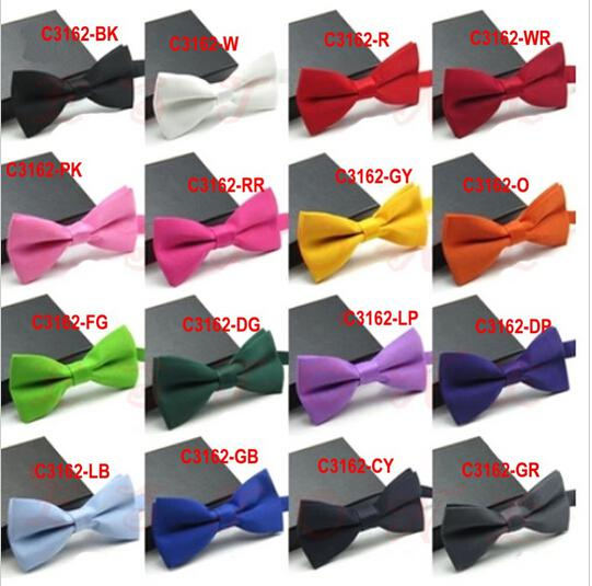 50PCS / LOT New formelle Bow Tie Commercial Homme Solide Couleur Mariage noeuds