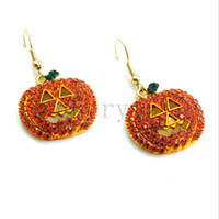 Wholesale Halloween Pumpkin Ear Stud Crystal Rhinestone Fashion Charm Earrings Christmas Gift C1371