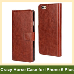 Wholesale Newest Crazy Horse Pattern Wallet Flip Cover Case for Apple iPhone 6 Plus with Card Slot Holder Free Shipping