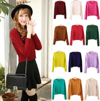 Cheap Fashion vintage short style woven knited sweater woman wool pullover cardigan spring autumn out coat jumper MY018