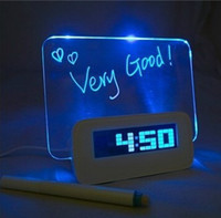 Wholesale Highstar Romantic Fluorescent Message Board LED Electronic Digital Luminous Desk Alarm Clock Calendar USB Hub Screen Night Lights Q1
