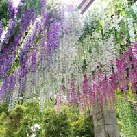 artificial plants sale - Hot Sale Artificial Flower Wisteria Home Garden Hanging Flowers Vine Wedding Plant Decor Drop Shipping HG