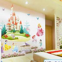 Wholesale Retail Huge Princess Castle Removable D DIY PVC Cartoon Wall Sticker Art Wall Decal Home Decor