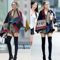 wool blanket - 2014 blanket coat Cape blanket shawl wool cashmere checkered color runway woollen blanket coat